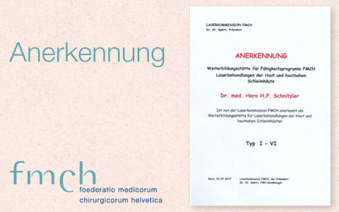Dr. Schnitzler, Hautarzt in Zürich, ist jetzt anerkannte Weiterbildungsstätte für Laser und Lasermedizin der Laserkommission FMCH