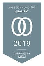 Qualitätskontrolle Mooci Zertifikat 2019 beste Qualität sehr gut Auszeichnung Hautarzt Praxis Dermatologe Laser Laserarzt Zürich Enge